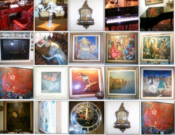 Quadros de pintura, espelho, mesa, piano e TV 70