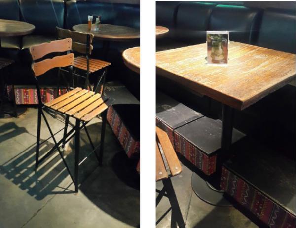 Cadeiras, mesas, balcão frigorifico, geladeira