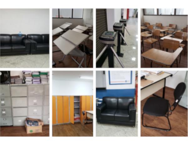Catracas de acesso, carteiras escolares, mesas, cadeiras e armarios
